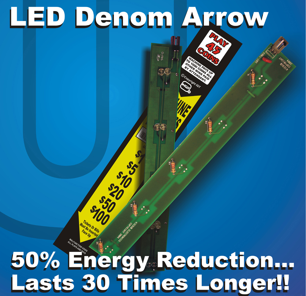 K902-105W White/Yellow LED Replacement Board for Denom Panel on IGT GK Upright or I-Game Slot Machines