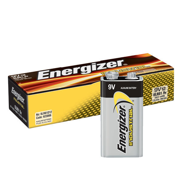 Energizer EN22 Industrial 9 Volt Battery, 12/pk