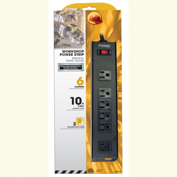 Prime PB801120 6-Outlet (4+2) Metal Power Strip