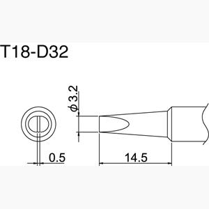Hakko T18-D32 Solder Tip
