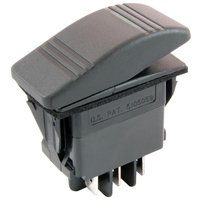 NTE 54-036 SWITCH SNAP-IN ILLUMINATED ROCKER DPDT 20A 12VDC ON-OFF-ON