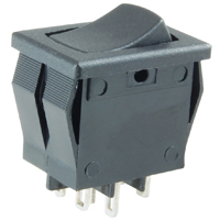 NTE 54-078 SWITCH SNAP-IN ROCKER DPDT ON-NONE-(ON) 8A 125VAC