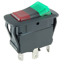 NTE 54-239W SWITCH WATERPROOF ILLUMINATED ROCKER SPDT 20A ON-NONE-ON RED-GREEN 12V