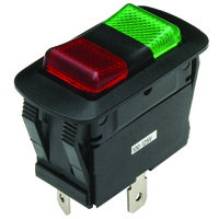 NTE 54-240W SWITCH WATERPROOF ILLUMINATED ROCKER SPDT 20A ON-OFF-ON RED-GREEN 110V