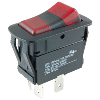 NTE 54-249W SWITCH WATERPROOF ILLUMINATED ROCKER SPDT 20A ON-OFF-ON RED-GREEN 12V